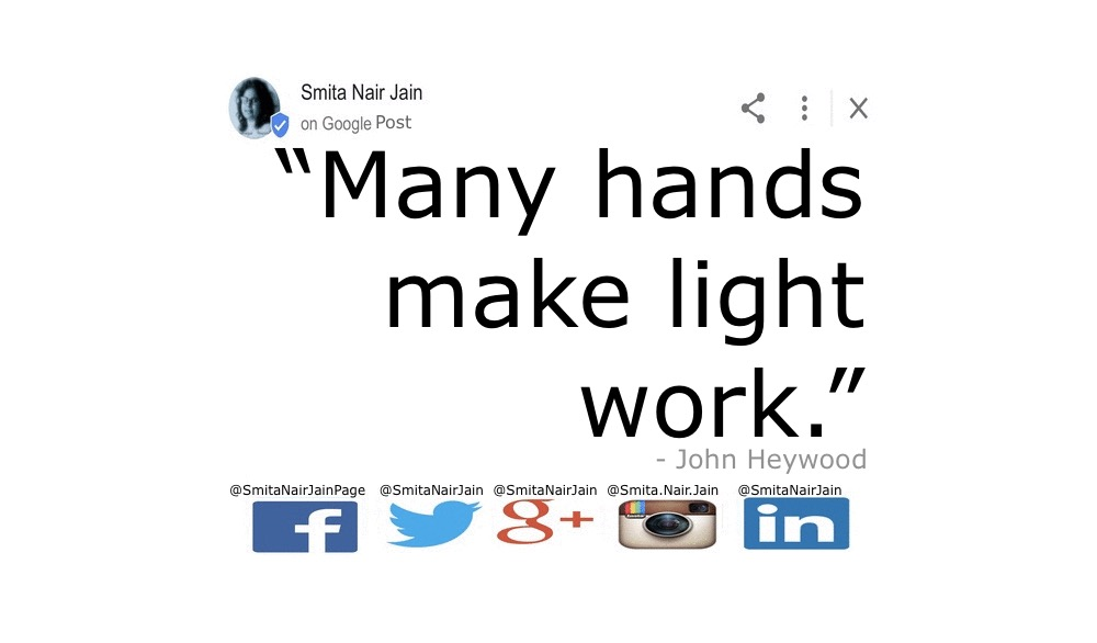 "SNJ: T-1882: THE POWER OF PARADIGMS (PAIR-A-DIMES) : Change Your Thoughts and You Change Your Actions Further Reading: https://goo.gl/posts/nUWZw ""Many hands make light work."" - John Heywood #womenintech #womenindigital #thoughtleaders #tedxspeaker #technology #tech #success #strategy #startuplife #startupbusiness #startup #smitanairjain #mentor #leadership #itmanagement #itleaders #innovation #informationtechnology #Influencer #hightech #fintechinfluencer #fintech #entrepreneurship #entrepreneurs #economy #economics #development #copypaste #businessintelligence #believe Take A Minute To Follow Me On Social Media Facebook: @SmitaNairJainPage   Twitter: @SmitaNairJain Instagram: @smita.nair.jain          LinkedIn: @smitanairjain"