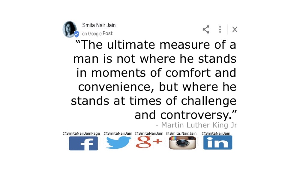 "SNJ: T-1884: THE POWER OF PARADIGMS (PAIR-A-DIMES): Change Your Thoughts and You Change Your World #SmitaNairJain Further Reading: https://goo.gl/posts/FqS1f ""The ultimate measure of a man is not where he stands in moments of comfort and convenience, but where he stands at times of challenge and controversy."" Martin Luther King Jr 1963 #womenintech #womenindigital #thoughtleaders #tedxspeaker #technology #tech #success #strategy #startuplife #startupbusiness #startup #mentor #leadership #itmanagement #itleaders #innovation #informationtechnology #Influencer #hightech #fintechinfluencer #fintech #entrepreneurship #entrepreneurs #economy #economics #development #copypaste #businessintelligence #believe Take A Minute To Follow Me On Social Media Facebook: @SmitaNairJainPage   Twitter: @SmitaNairJain Instagram: @smita.nair.jain          LinkedIn: @smitanairjain"